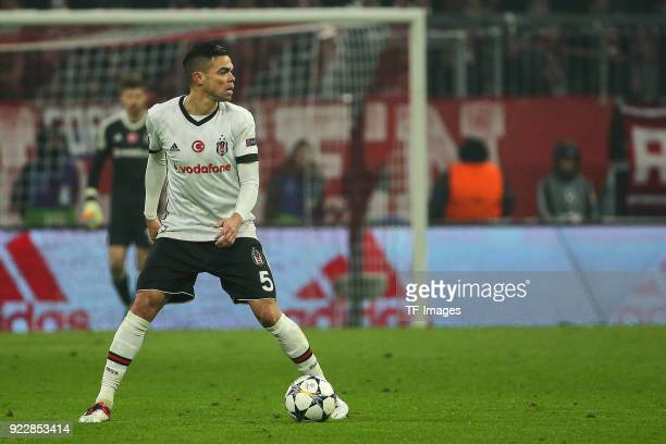 Pepe of Besiktas Istanbul controls the ball during the UEFA Champions League Round of 16 First Leg match between Bayern Muenchen and Besiktas at...