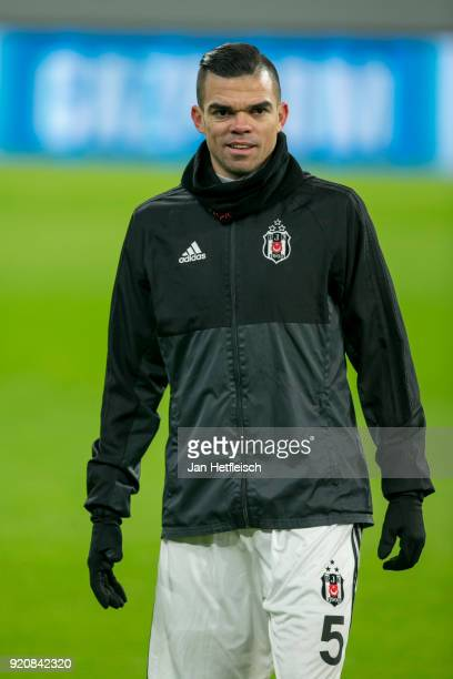 Pepe of Besiktas Istanbul during a training session ahead the UEFA Campions League match against FC Bayern Muenchen at Allianz Arena on February 19...