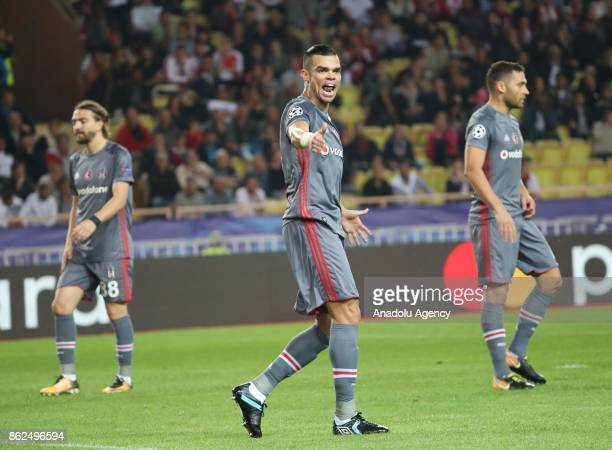 Pepe of Besiktas reacts during the UEFA Champions League Group G match between AS Monaco and Besiktas at Stade Louis II in Fontvieille Monaco on...