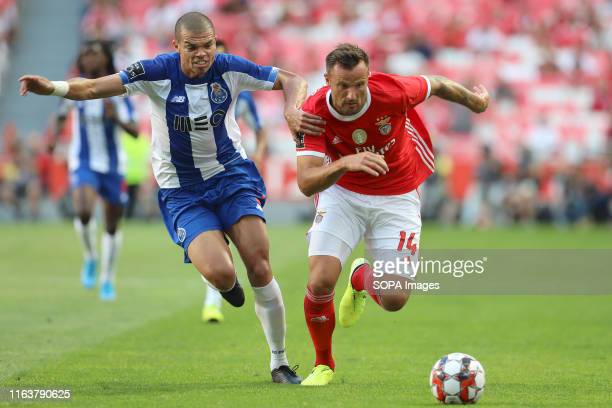 Pepe of FC Porto and Haris Seferovic of SL Benfica are seen in action during the League NOS 2019/20 football match between SL Benfica and FC Porto in...