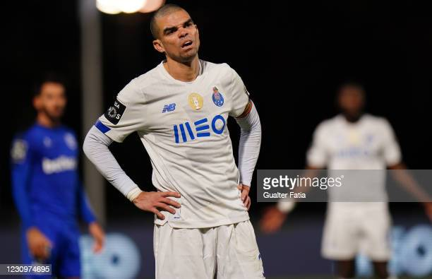 Pepe of FC Porto during the Liga NOS match between Belenenses SAD and FC Porto at Estadio Nacional on February 4, 2021 in Oeiras, Portugal.