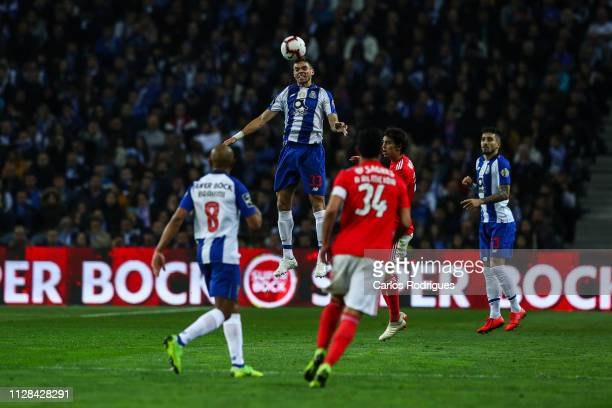 Pepe of FC Porto heads the ball away during the Liga NOS match between FC Porto and SL Benfica at Estadio do Dragao on March 2 2019 in Porto Portugal