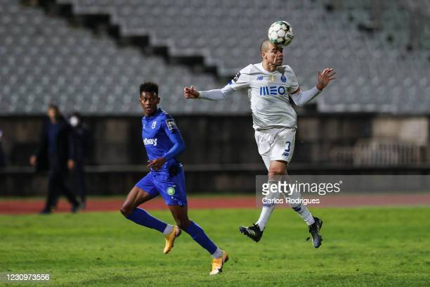 Pepe of FC Porto higher heads the ball during the Liga NOS match between Belenenses SAD and FC Porto at on February 4, 2021 in Lisbon, Portugal.