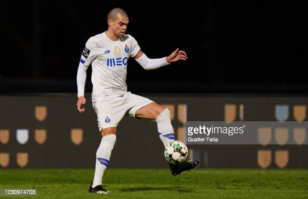 Pepe of FC Porto in action during the Liga NOS match between Belenenses SAD and FC Porto at Estadio Nacional on February 4, 2021 in Oeiras, Portugal.