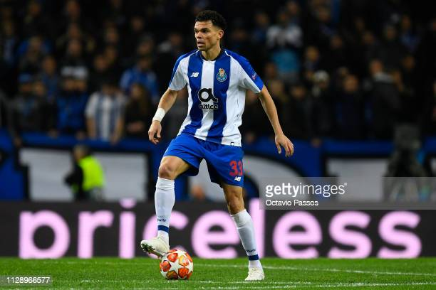 Pepe of FC Porto in action during the UEFA Champions League Round of 16 Second Leg match between FC Porto and AS Roma at Estadio do Dragao on March...