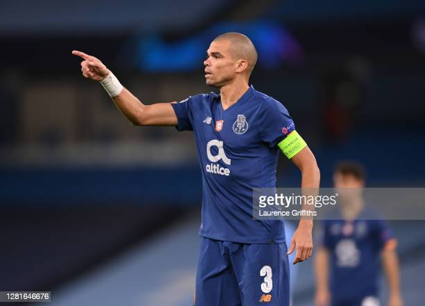 Pepe of FC Porto looks on during the UEFA Champions League Group C stage match between Manchester City and FC Porto at Etihad Stadium on October 21,...