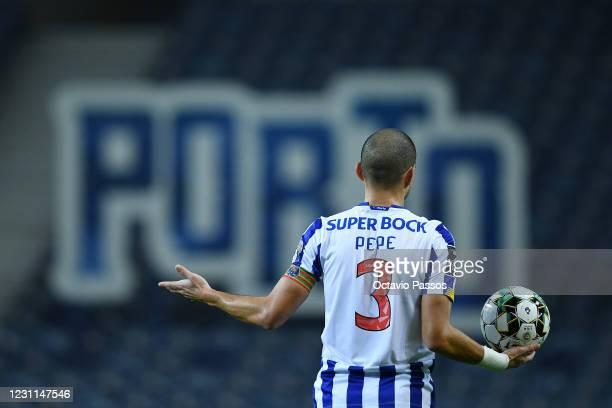 Pepe of FC Porto reacts during the Liga NOS match between FC Porto and Boavista FC at Estadio do Dragao on February 13, 2021 in Porto, Portugal....