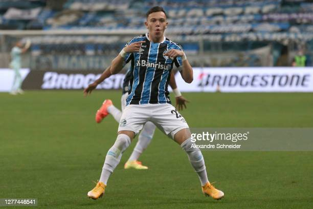 Pepe of Gremio celebrates after scoring the opening goal of his team during a Copa CONMEBOL Libertadores 2020 group E match between Gremio and...