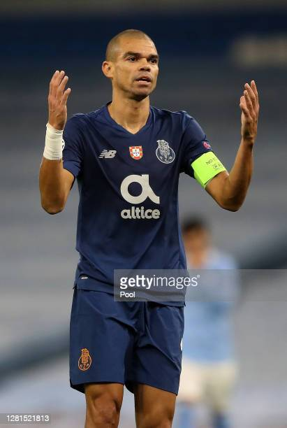 Pepe of Porto during the UEFA Champions League Group C stage match between Manchester City and FC Porto at Etihad Stadium on October 21, 2020 in...