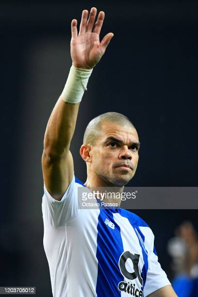 Pepe of Porto in action during the UEFA Europa League round of 32 second leg match between FC Porto and Bayer 04 Leverkusen at Estadio do Dragao on...