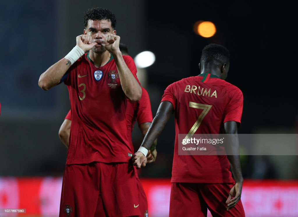 Pepe of Portugal and Besiktas celebrates after scoring a goal during the International Friendly match between Portugal and Croatia at Estadio Algarve on September 6, 2018 in Faro, Portugal.