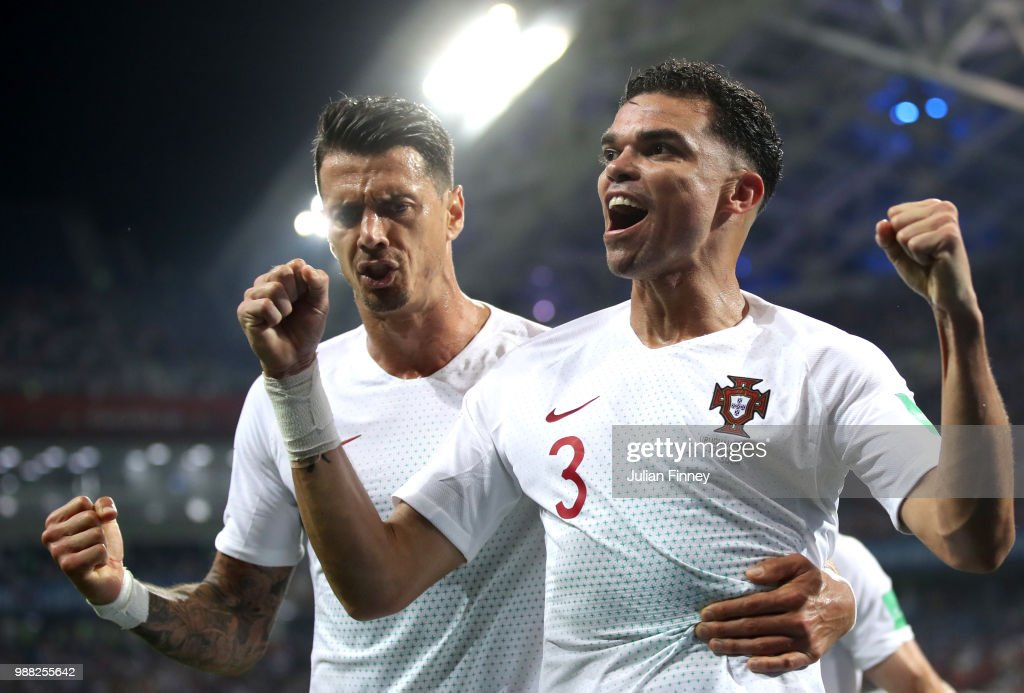 Pepe of Portugal celebrates after scoring his team's first goal with team mate Jose Fonte during the 2018 FIFA World Cup Russia Round of 16 match between Uruguay and Portugal at Fisht Stadium on June 30, 2018 in Sochi, Russia.
