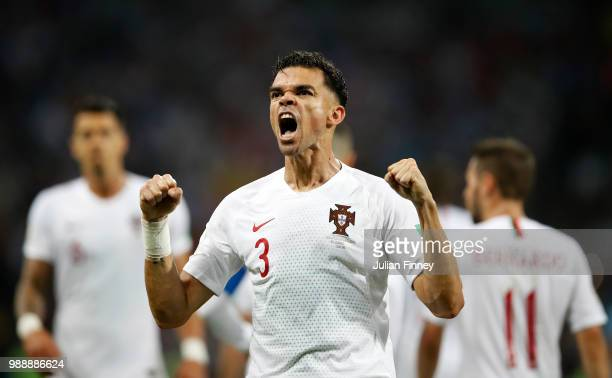 Pepe of Portugal celebrates scoring his teams first goal during the 2018 FIFA World Cup Russia Round of 16 match between Uruguay and Portugal at...