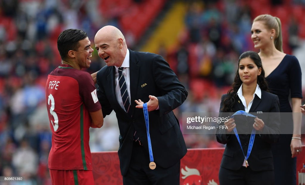 Pepe of Portugal collects his medal from Gianni Infantino, FIFA president after the FIFA Confederations Cup Russia 2017 Play-Off for Third Place between Portugal and Mexico at Spartak Stadium on July 2, 2017 in Moscow, Russia.