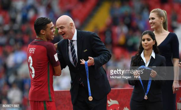 Pepe of Portugal collects his medal from Gianni Infantino FIFA president after the FIFA Confederations Cup Russia 2017 PlayOff for Third Place...