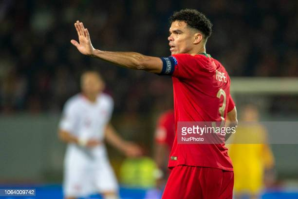 Pepe of Portugal during the UEFA Nations League A Group 3 match between Portugal and Poland at Estadio D Afonso Henriques in Guimaraes Portugal on...