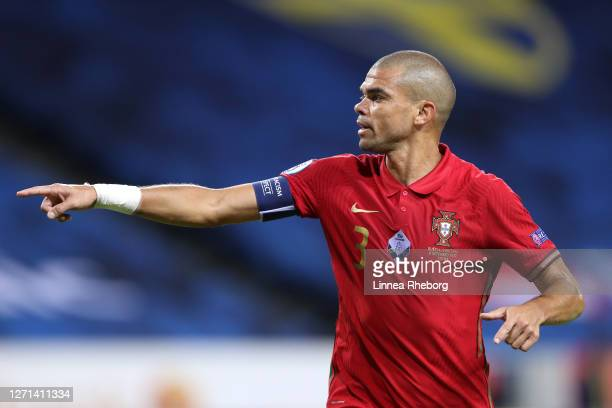 Pepe of Portugal gestures during the UEFA Nations League group stage match between Sweden and Portugal at Friends Arena on September 08, 2020 in...