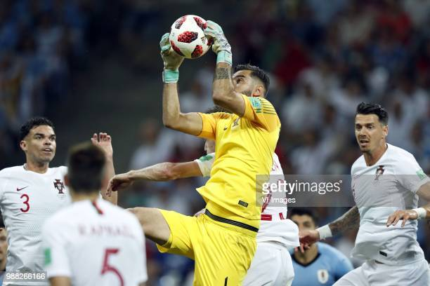 Pepe of Portugal goalkeeper Rui Patricio of Portugal Jose Fonte of Portugal during the 2018 FIFA World Cup Russia round of 16 match between Uruguay...