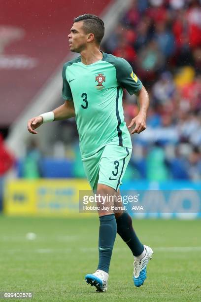 Pepe of Portugal in action during the FIFA Confederations Cup Russia 2017 Group A match between Russia and Portugal at Spartak Stadium on June 21...