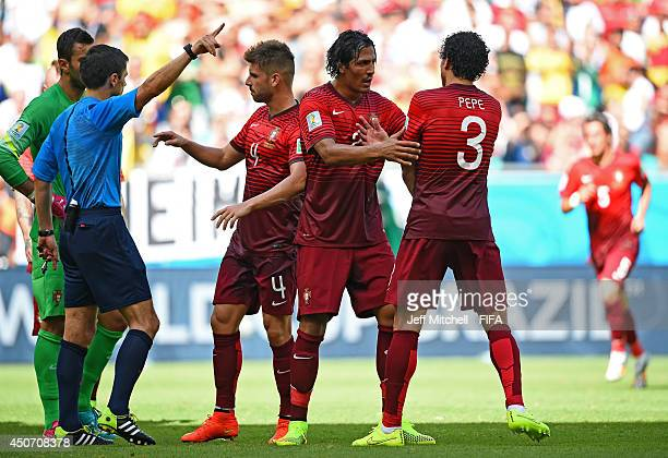 Pepe of Portugal is shown the red card by referee Milorad Mazic and is sent off during the 2014 FIFA World Cup Brazil Group G match between Germany...