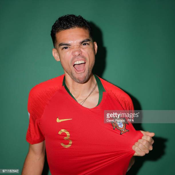 Pepe of Portugal poses during the official FIFA World Cup 2018 portrait session at Saturn Training Base on June 10 2018 in Moscow Russia