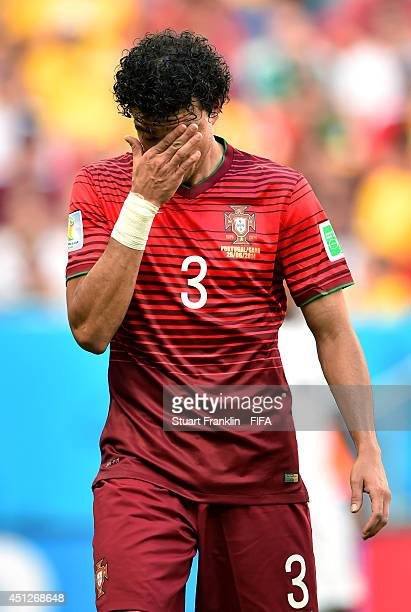 Pepe of Portugal reacts during the 2014 FIFA World Cup Brazil Group G match between Portugal and Ghana at Estadio Nacional on June 26, 2014 in...
