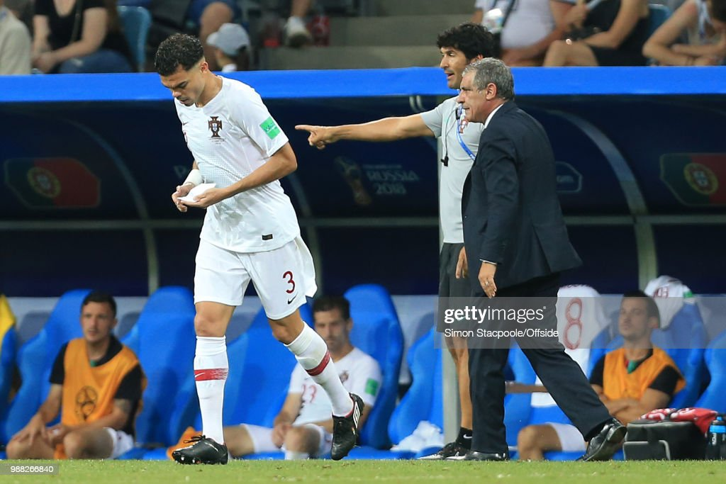 Pepe of Portugal returns to the pitch holding notes from Portugal coach Fernando Santos during the 2018 FIFA World Cup Russia Round of 16 match between Uruguay and Portugal at the Fisht Stadium on June 30, 2018 in Sochi, Russia.