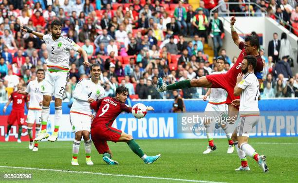 Pepe of Portugal scores his sides first goal during the FIFA Confederations Cup Russia 2017 PlayOff for Third Place between Portugal and Mexico at...
