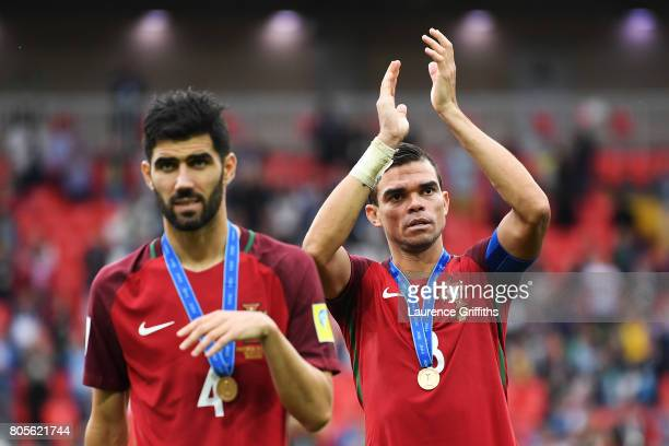 Pepe of Portugal shows appreciation to the fans after the FIFA Confederations Cup Russia 2017 PlayOff for Third Place between Portugal and Mexico at...
