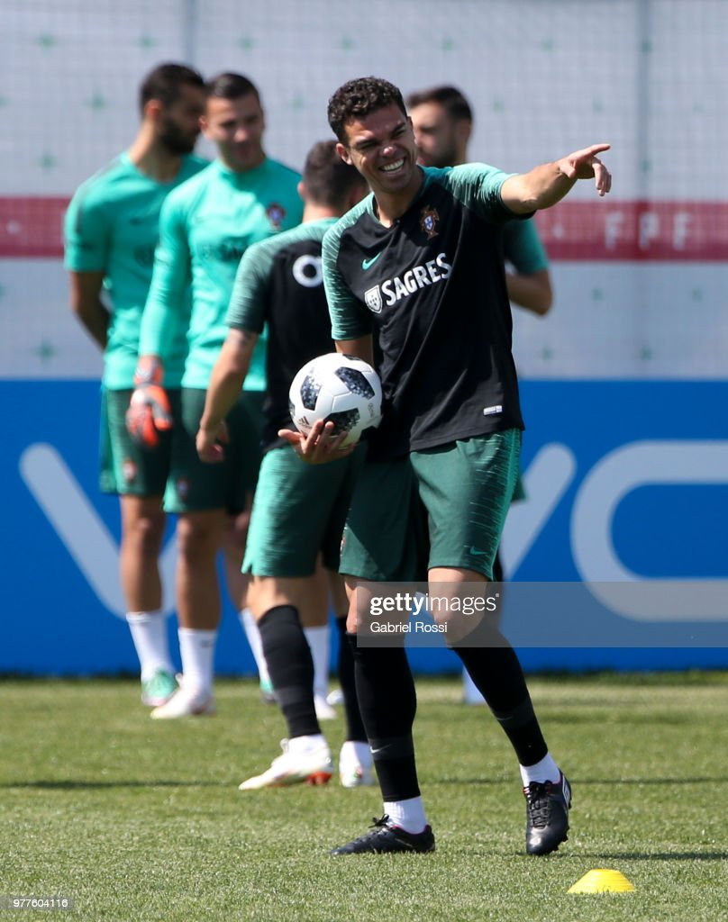 Pepe of Portugal smiles during the training session at Saturn Training Center on June 18, 2018 in Kratovo, Russia.