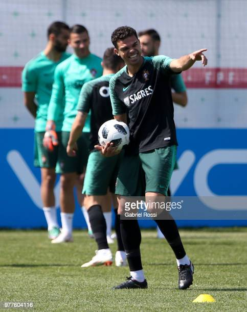 Pepe of Portugal smiles during the training session at Saturn Training Center on June 18 2018 in Kratovo Russia