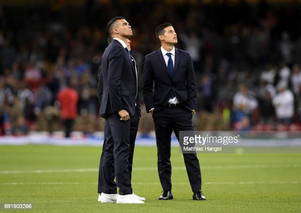 Pepe of Real Madrid and James Rodriguez of Real Madrid take a look around the stadium prior to the UEFA Champions League Final between Juventus and...