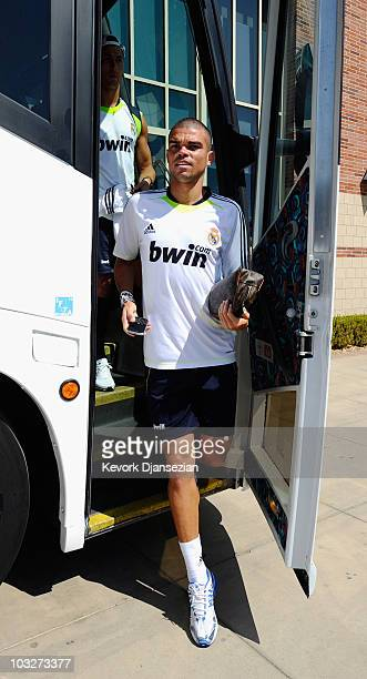 Pepe of Real Madrid arrives to participate in the Adidas training with local youth soccer players on August 5 2010 in the Westwood section of Los...