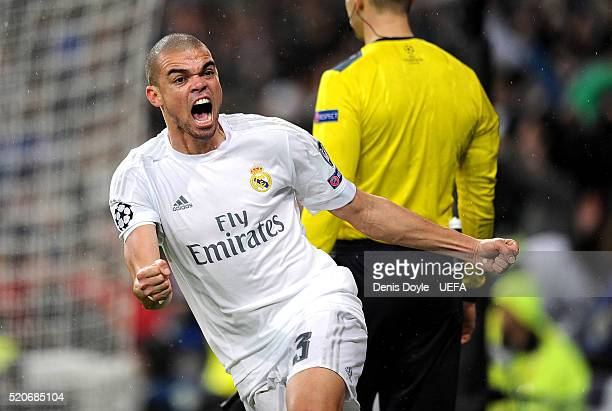 Pepe of Real Madrid celebrates after Cristiano Ronaldo scored Real's 2nd goal during the UEFA Champions League Quarter Final Second Leg match between...