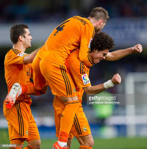 Pepe of Real Madrid celebrates after scoring during the La Liga match between Real Sociedad and Real Madrid CF at Estadio Anoeta on April 5 2014 in...