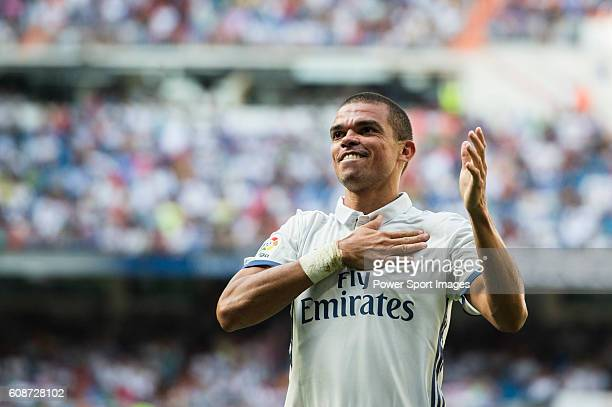 Pepe of Real Madrid celebrates after scoring during the La Liga match between Real Madrid and Osasuna at the Santiago Bernabeu Stadium on 10...