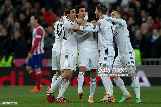 Pepe of Real Madrid CF celebrates scoring their opening goal with teammates during the Copa del Rey semifinal first leg match between Real Madrid CF...