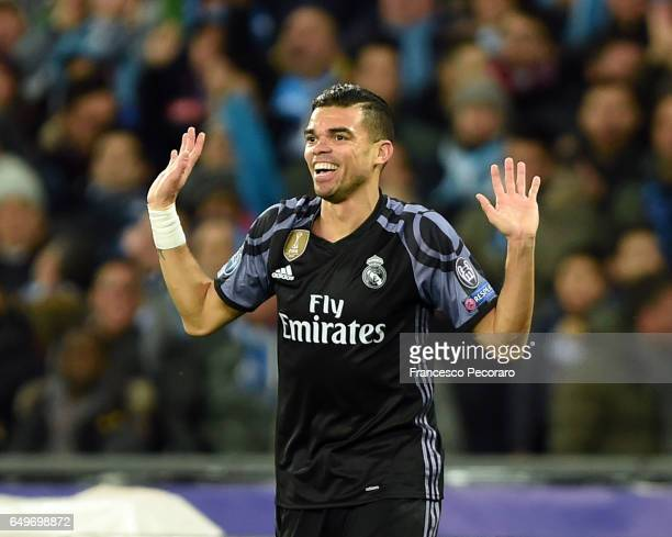 Pepe of Real Madrid CF during the UEFA Champions League Round of 16 second leg match between SSC Napoli and Real Madrid CF at Stadio San Paolo on...