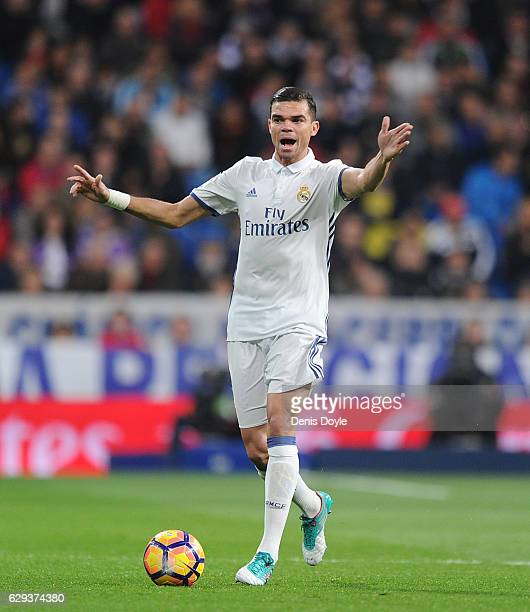 Pepe of Real Madrid CF in action during the La Liga match between Real Madrid CF and RC Deportivo La Coruna at Estadio Santiago Bernabeu on December...