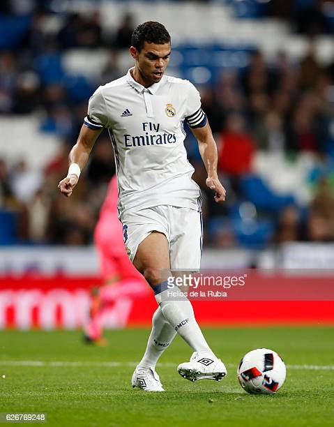 Pepe of Real Madrid in action during the Copa del Rey round of 32 second leg match between Real Madrid CF and Cultural y Deportiva Leonesa at Estadio...