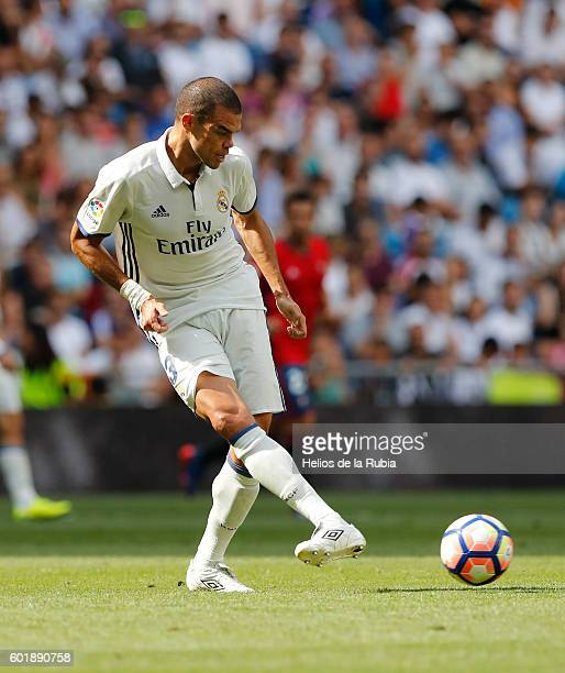 Pepe of Real Madrid in action during the La Liga match between Real Madrid CF and CA Osasuna at Estadio Santiago Bernabeu on September 10 2016 in...