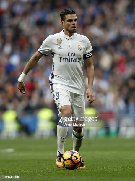 Pepe of Real Madrid in action during the La Liga match between Real Madrid and RCD Espanyol at Estadio Santiago Bernabeu on February 18 2017 in...