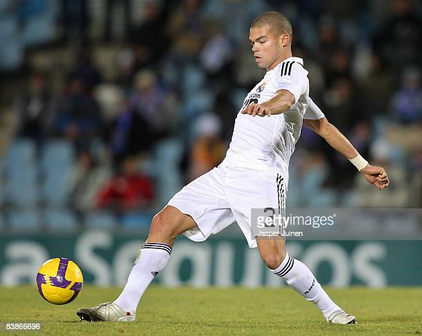 Pepe of Real Madrid of Real Madrid controls the ball during the La Liga match between Getafe and Real Madrid at the Coliseum Alfonso Perez stadium on...