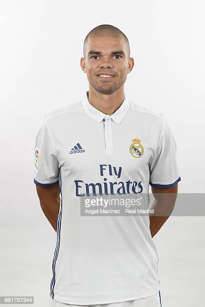 Pepe of Real Madrid poses during a portrait session at Valdebebas training ground on August 18 2016 in Madrid Spain