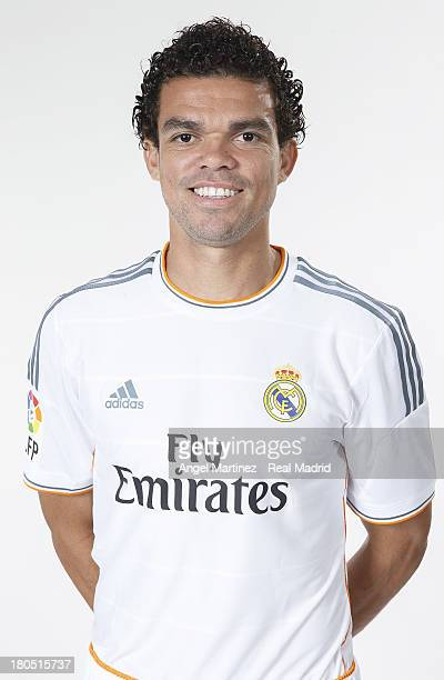 Pepe of Real Madrid poses during the official team photo session at Valdebebas training ground on September 13 2013 in Madrid Spain