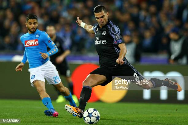Pepe of Real Madrid vies Ciro Immobile of Napoli during the UEFA Champions League football match SSC Napoli vs Real Madrid on March 7 2017 at the San...