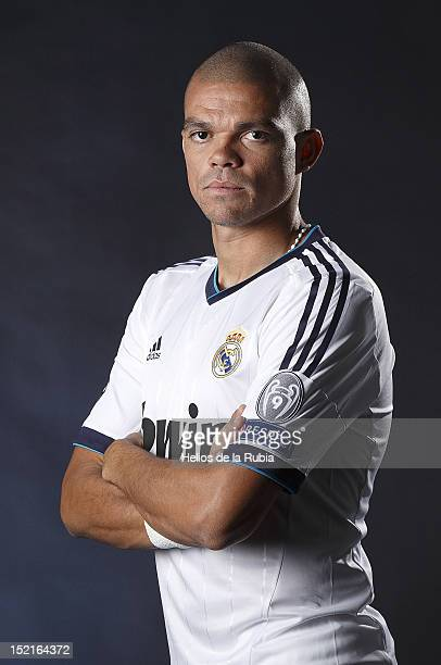 Pepe poses during the Real Madrid CF presentation at Valdebebas training ground on September 13, 2012 in Madrid, Spain.