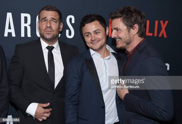 Pepe Rapazote Arturo Castro and Pedro Pascal attend the 'Narcos' Season 3 New York Screening at AMC Loews Lincoln Square 13 theater on August 21 2017...