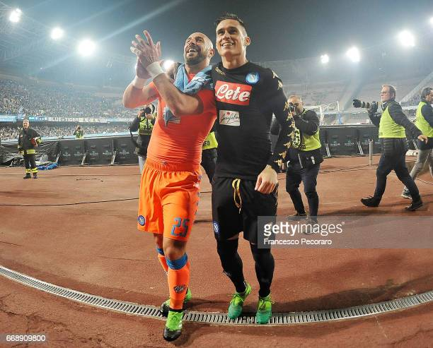 Pepe Reina and Jose Callejon players of SSC Napoli celebrate the victory after the Serie A match between SSC Napoli and Udinese Calcio at Stadio San...
