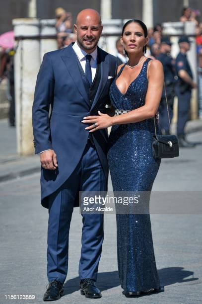 Pepe Reina and wife Yolanda Ruiz attend the wedding of real Madrid football player Sergio Ramos and Tv presenter Pilar Rubio at Seville's Cathedral...